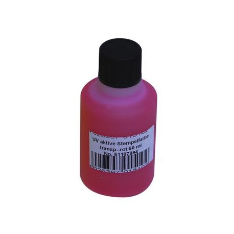 UV-active stamp ink, transp. red, 50ml